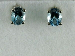 Oval Cut Aquamarine Earrings in 14k White Gold at John Wallick Jewelers, in Sun City, Arizona, near Phoenix, AZ