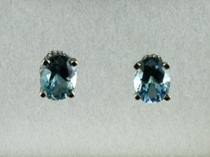 Oval Cut Aquamarine Earrings in 14k White Gold at John Wallick Jewelers, in Sun City, Arizona, near Phoenix, AZ