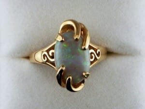 Oval opal ring available at John Wallick Jewelers, in Sun City, Arizona, near Phoenix, AZ