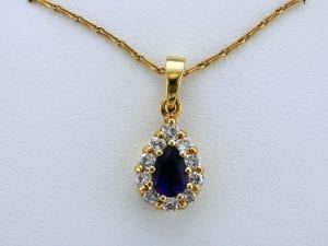 Pear Shaped Amethyst and Diamond Pendant Necklace at John Wallick Jewelers in Sun City, Arizona near Phoenix, AZ