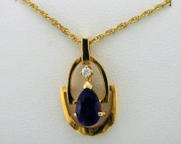 Pear Shaped Amethyst and One Diamond Pendant Necklace at John Wallick Jewelers in Sun City, Arizona near Phoenix, AZ