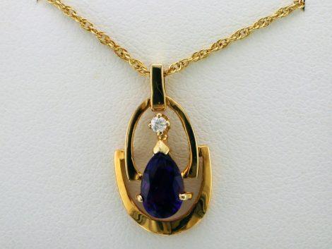 Pear Shaped Amethyst and One Diamond Pendant Necklace at John Wallick Jewelers in Sun City, Arizona near Phoenix, AZ