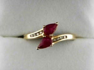 Pear shaped ruby ring available at John Wallick Jewelers, in Sun City, Arizona, near Phoenix, AZ