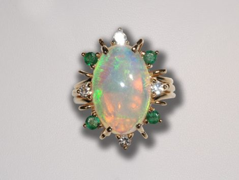 Opal, Emerald and Diamond Ring