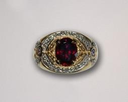 John Wallick Jewelers: Yellow Gold, Red Tourmaline, Tanzanite and Diamond Ring