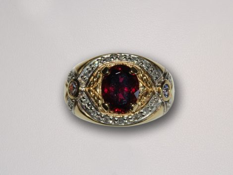 John Wallick Jewelers: Yellow Gold, Red Tourmaline, Tanzanite and Diamond Ring