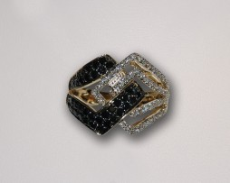 Yellow Gold, Black & White Diamond Ring