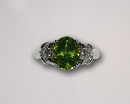 John Wallick Jewelers: White Gold Peridot & Diamond Ring
