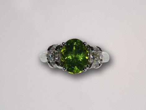 John Wallick Jewelers: White Gold Peridot & Diamond Ring