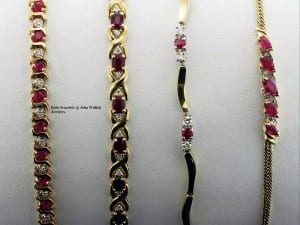 Ruby bracelets available at John Wallick Jewelers, in Sun City, Arizona, near Phoenix, AZ