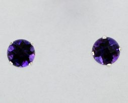 White Gold Amethyst Stud Earrings at John Wallick Jewelers in Sun City, Arizona near Phoenix, AZ